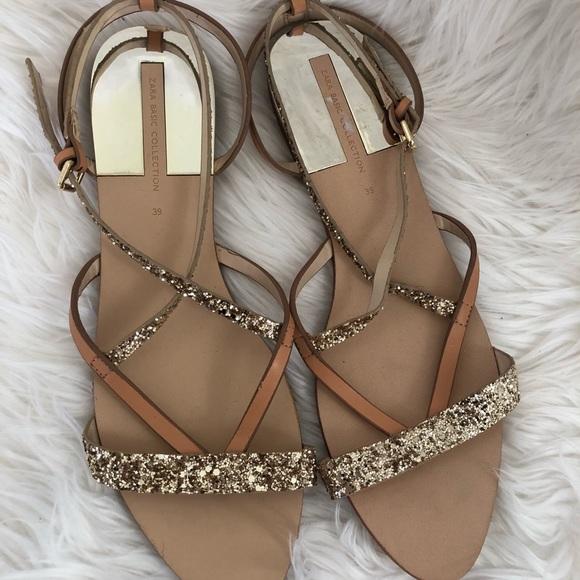 Zara Shoes | Zara Gold Glitter Sandals
